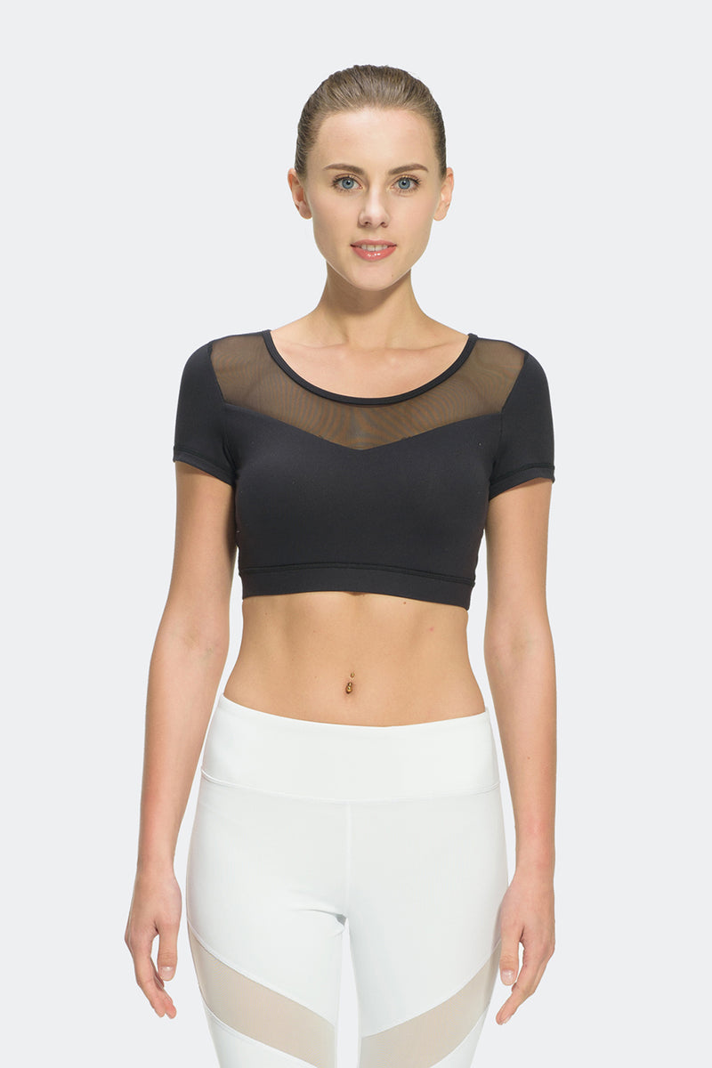 Ongasoft Yoga Tops-T008Black-Front