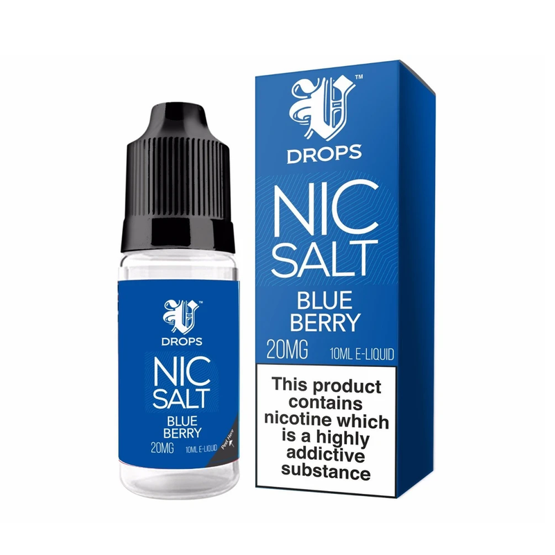 Blueberry 10ml Nic Salt E-Liquid V Drops - Rainbow Range