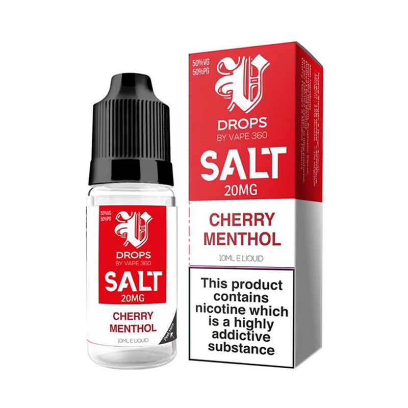 Cherry Menthol 10ml Nic Salt E-Liquid by V Drops - White Range
