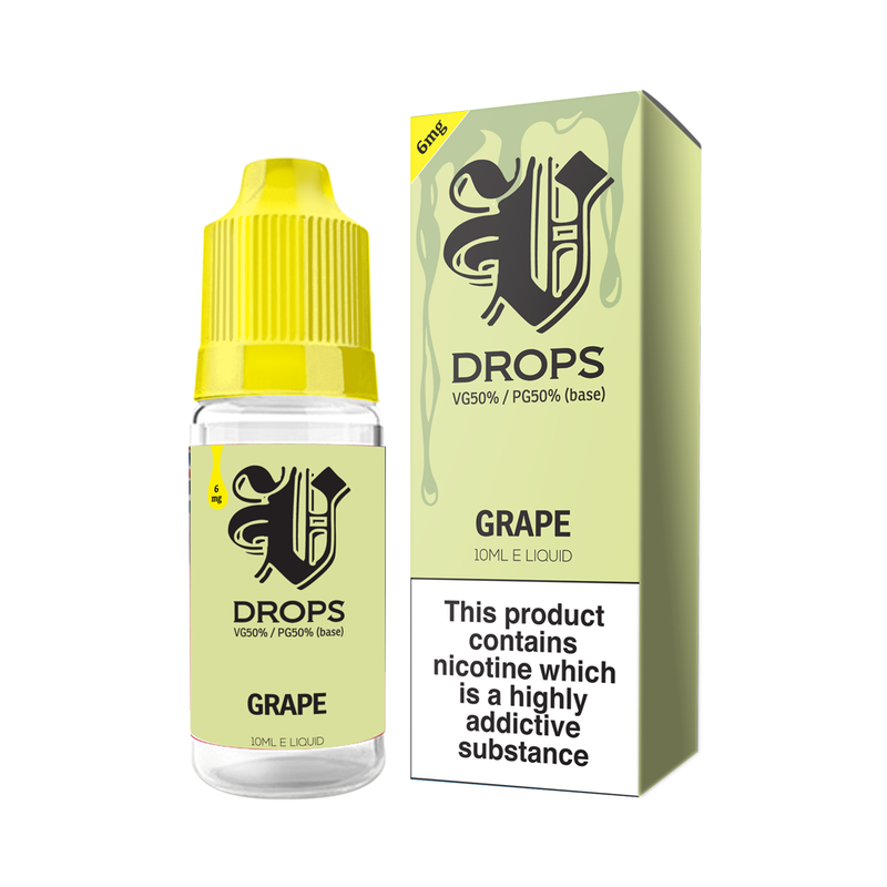 Grape 10ml E-Liquid V Drops - Rainbow Range