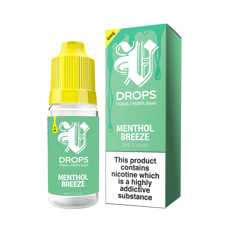 Menthol Breeze 10ml E-Liquid V Drops - Rainbow Range