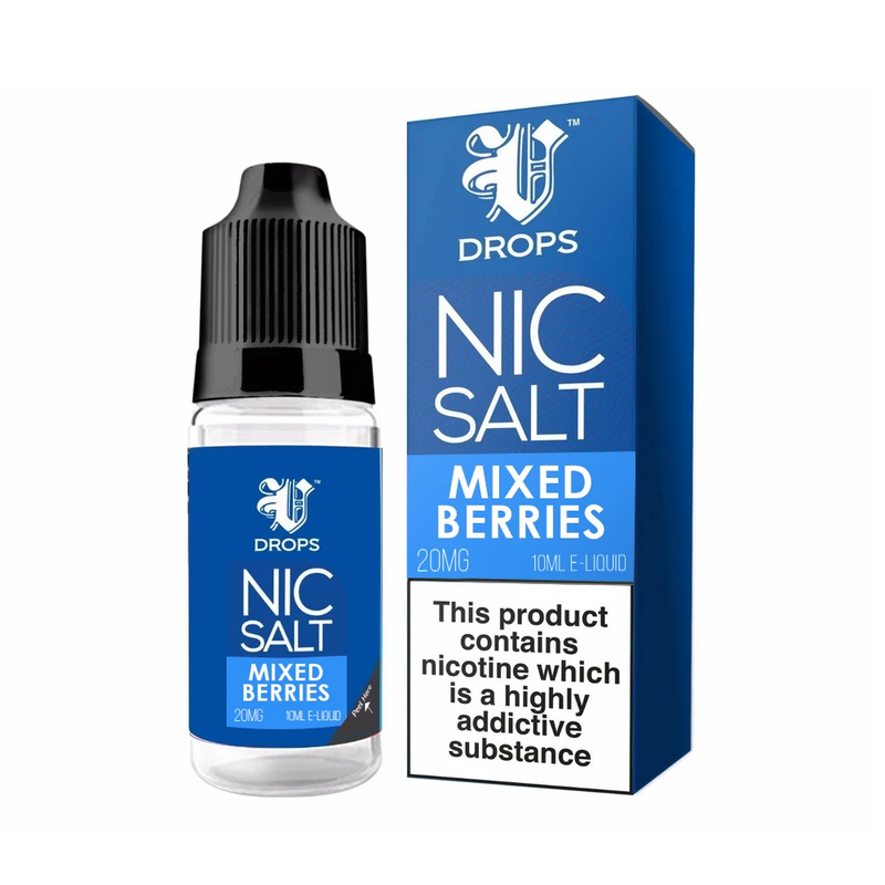 Mixed Berries 10ml Nic Salt E-Liquid V Drops - Rainbow Range