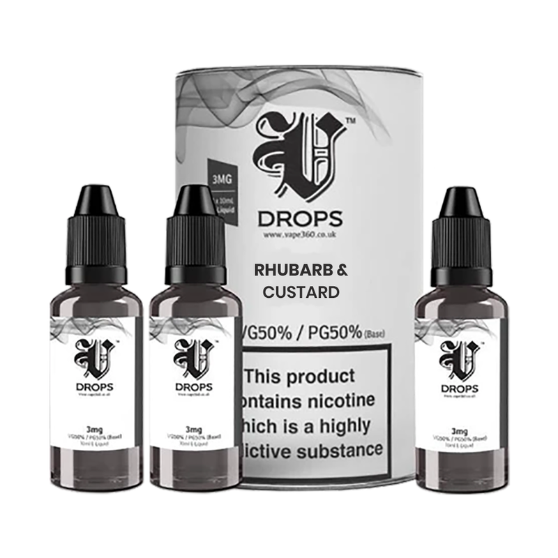 Rhubarb & Custard 3x10ml E-Liquid by V Drops - White Range