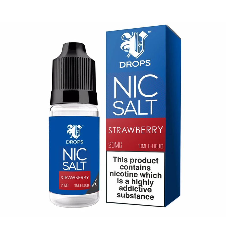 Strawberry 10ml Nic Salt E-Liquid V Drops - Rainbow Range