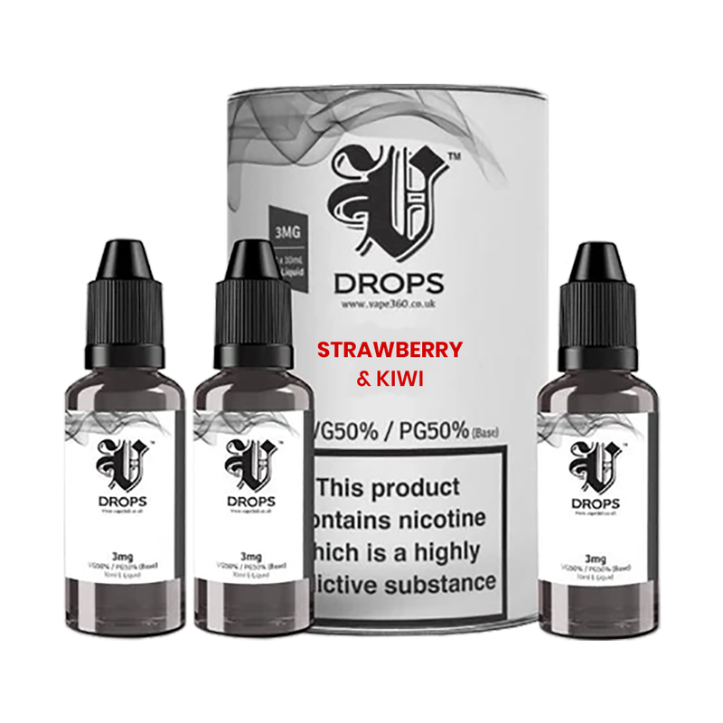 Strawberry & Kiwi 3x10ml E-Liquid by V Drops - White Range