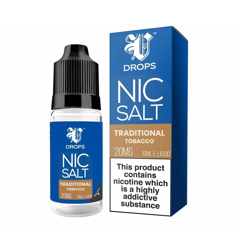 Traditional Tobacco 10ml Nic Salt E-Liquid V Drops - Rainbow Range