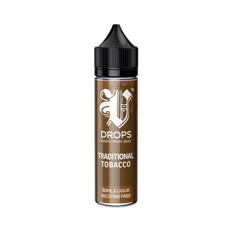 Traditional Tobacco 50ml Short Fill E-Liquid V Drops - Rainbow Range