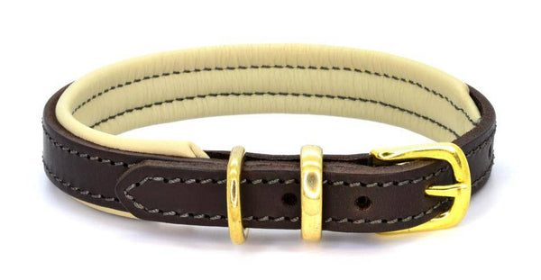 Dogs & Horses Leather Padded Collar Brown/Cream