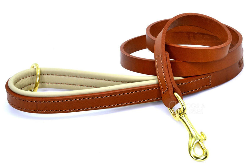 Dogs & Horses Leather Padded Collar Tan/Cream