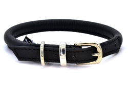 Dogs and Horses Rolled Leather Collar -  Black