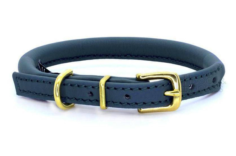 Dogs and Horses Rolled Leather Collar - Navy