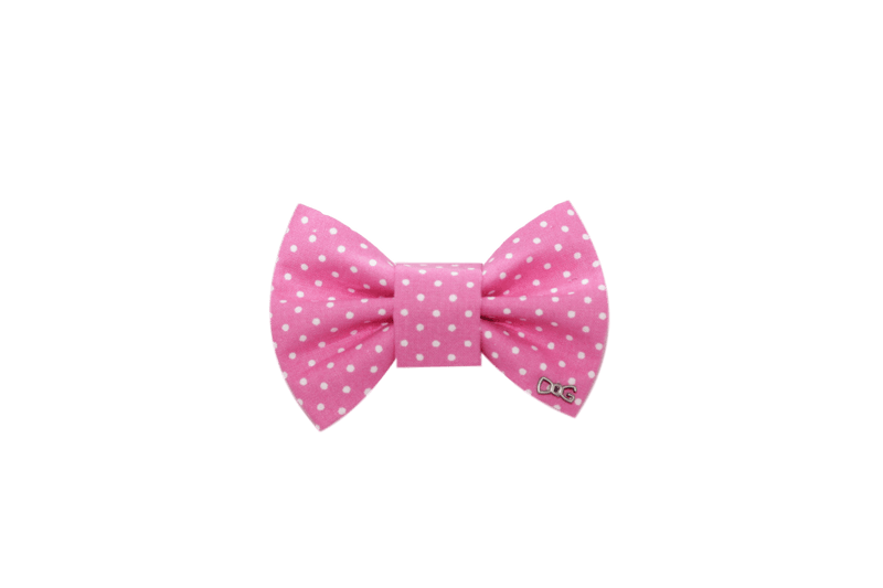 FD Bow Tie- Classic Pink & White Dots