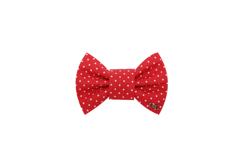 Funky Dog Bow Tie - Classic Red & White Dots