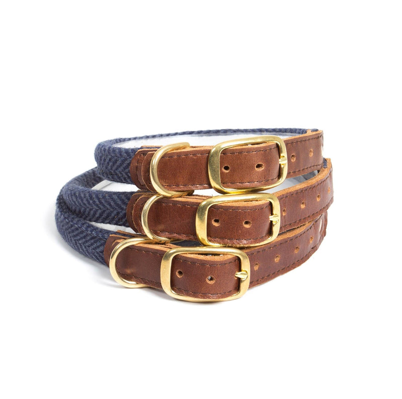 Rolled Tweed Dog Lead HB Navy - New!