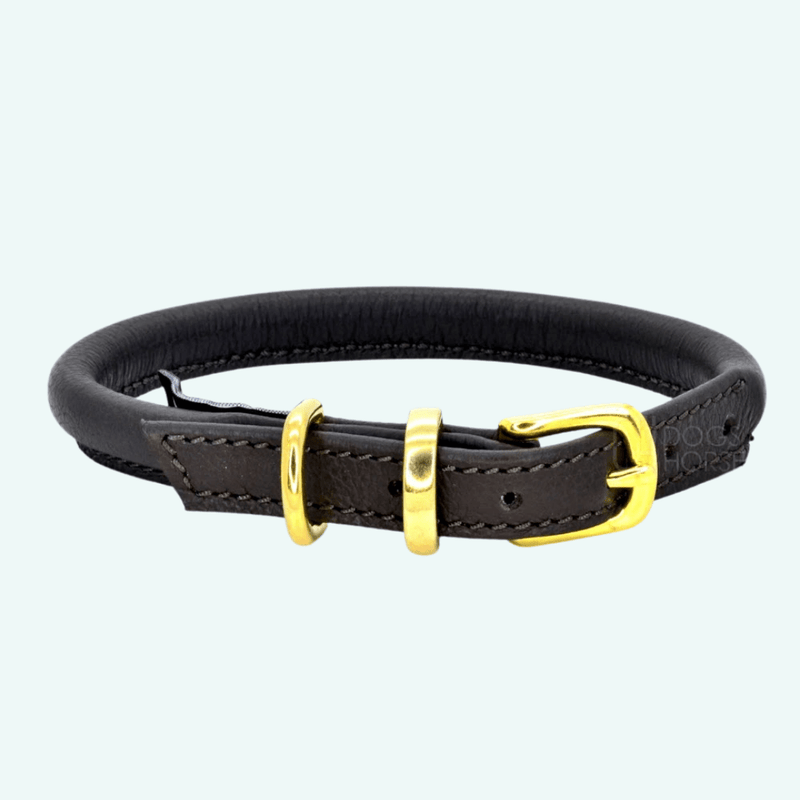 Dogs and Horses Rolled Leather Collar - Brown