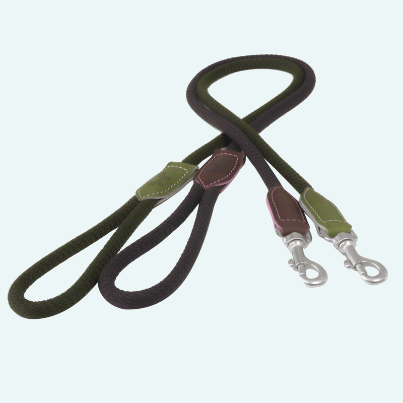 Ed Italian Leather and Rope Lead - Regular