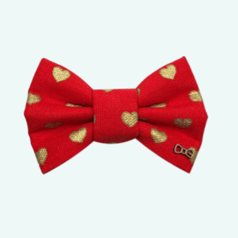 Funky Dog Red Hearts Bow Tie