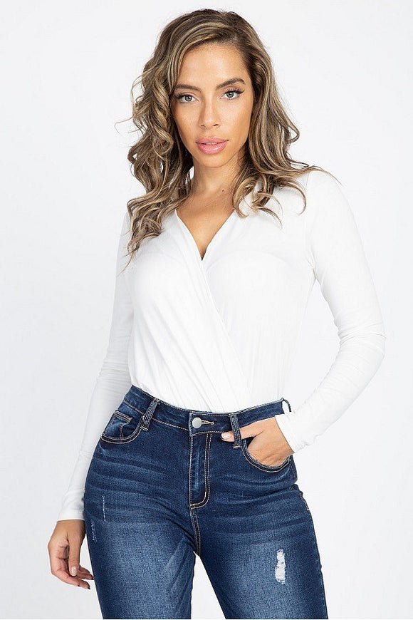 Front Wrap V Neck Bodysuit