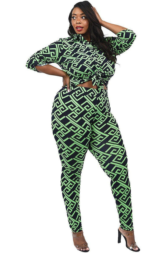 Plus Size Patterned Shirt And Legging Set