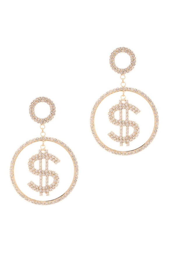 Rhinestone Dollar Sign Round Dangle Earring