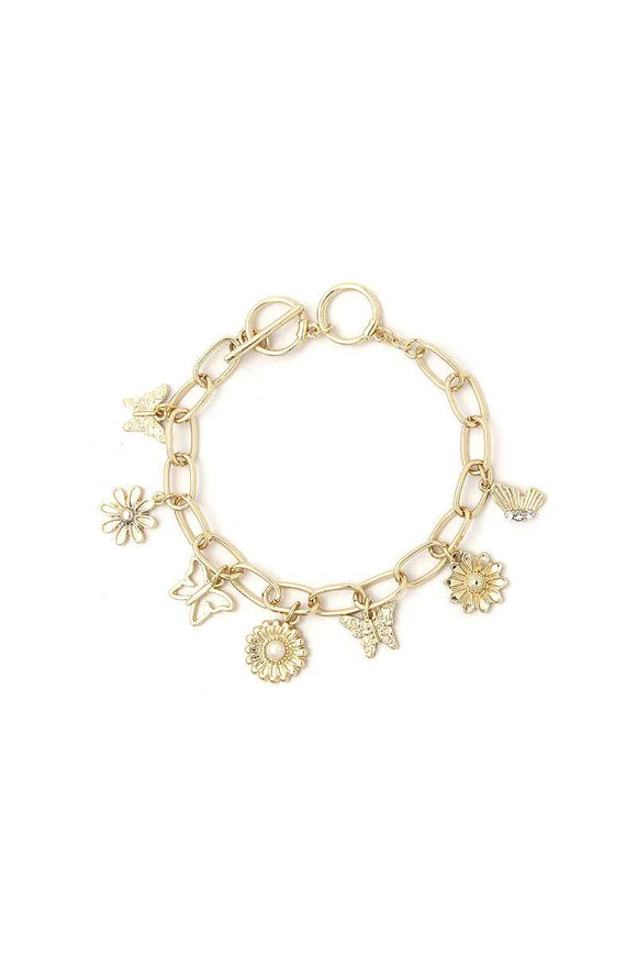 Fashion Flower And Butterfly Dangle Bracelet
