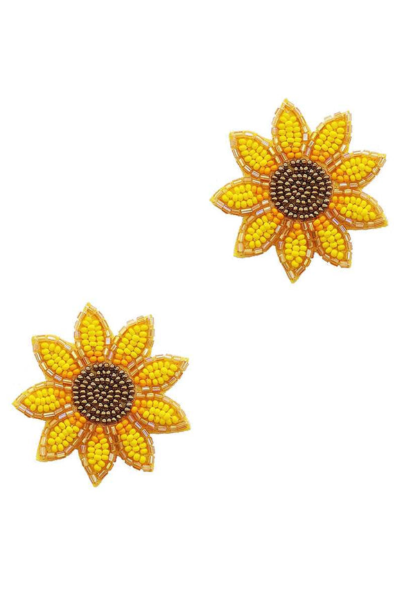 Trendy Seed Bead Flower Stud Earring