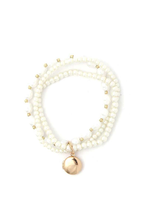 Locket Charm Pearl Beaded Bracelet Set