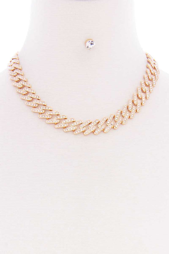 Chunky Stud Stone Metal Chain Short Necklace Earring Set