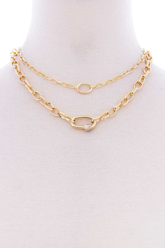 2 Layered Metal Oval Stone Point Chain Necklace