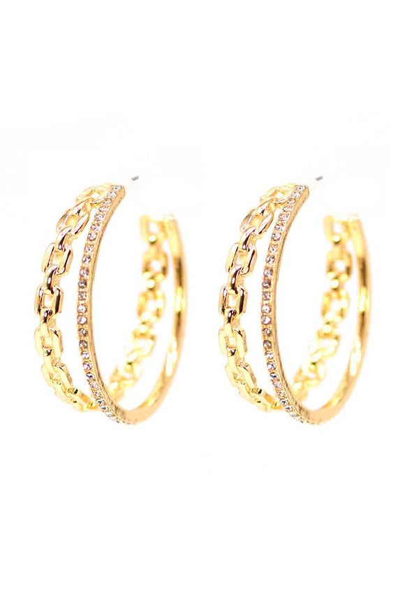 Double Chain And Rhinestone Ring Open Metal Hoop Earring
