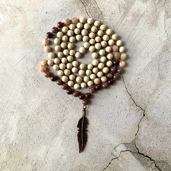 Aventurine, Moonstone & Feldspar Feather Mala