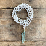 White Onyx & White Jade Blue Feather Mala