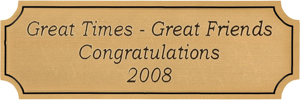Here is an inexpensive way to personalize most any gift. These gold plates can be lasered with text of your choice. Great for a picture frame, plaque, or other gift item.