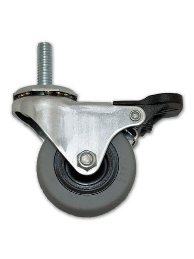"2"" Swivel Polyurethane Caster with 5/16"" x 1"" Stem & Pedal Brake"