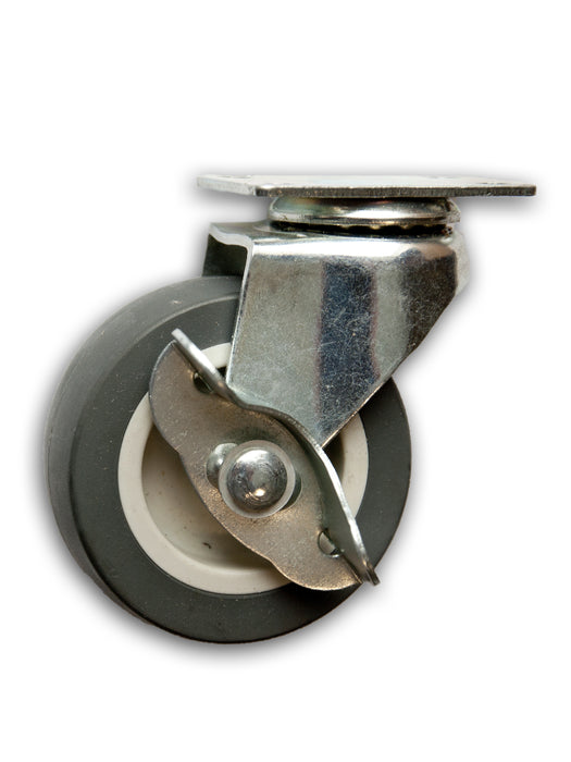 "2-1/2"" Swivel Poly-Pro Caster with Top Plate & Side Brake"