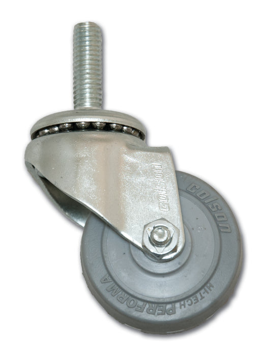 "2"" Swivel Performa Rubber Caster with 3/8"" x 1-1/4"" Stem"