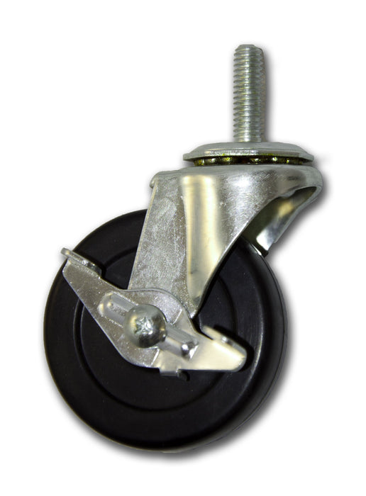 "2-1/2"" Swivel Rubber Caster with 5/16"" x 1"" Stem & Side Brake"