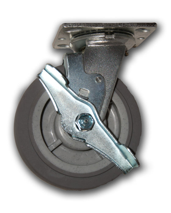 "6"" x 2"" Swivel Caster with Duratek TPR Wheel & Brake"