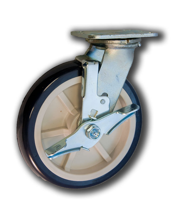 "8"" Swivel Caster Poly/Poly Wheel with Brake"