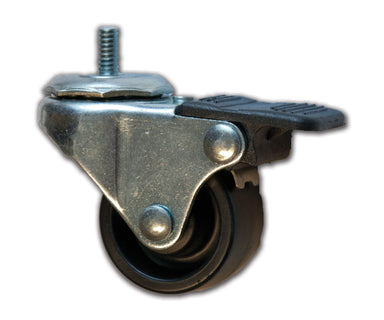 "1-5/8"" Swivel Polyolefin Caster with 1/4"" x 1/2"" Stem & Brake"