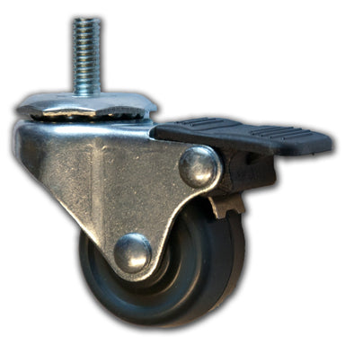 "1-5/8"" Swivel Soft Rubber Caster with 5/16"" x 3/4"" Stem & Brake"