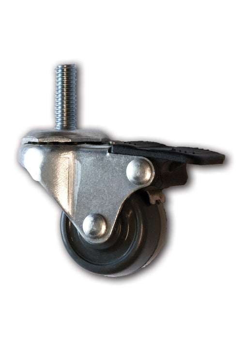 "1-5/8"" Swivel Rubber Caster with 3/8"" x 1"" Stem & Brake"