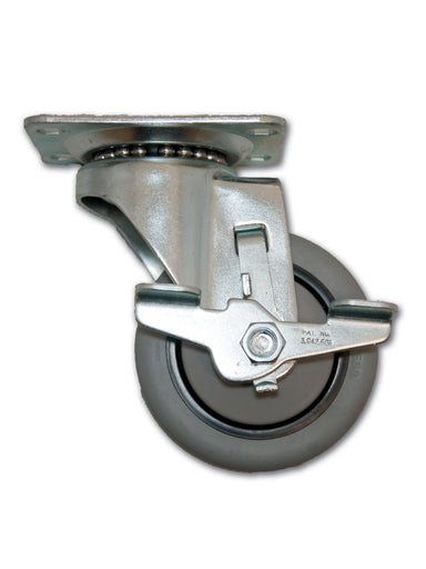 "3-1/2"" x 1-1/4"" Swivel TPR Caster with Top Plate & Side Brake"