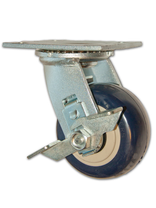 "4"" x 2"" Economy Swivel Caster with Polyurethane Wheel and Side Brake"