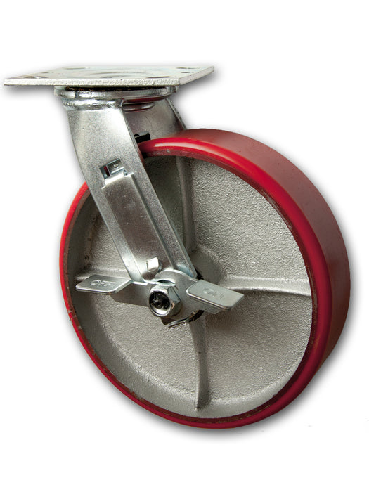 "8"" x 2"" Swivel Caster Polyurethane on Iron Wheel with Brake"