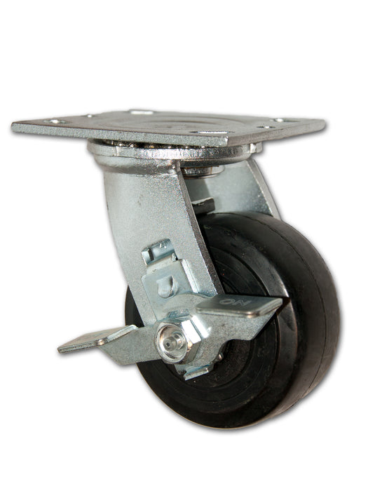 "4"" x 2"" Economy Swivel Caster with Rubber on Cast Iron Wheel and Side Brake"