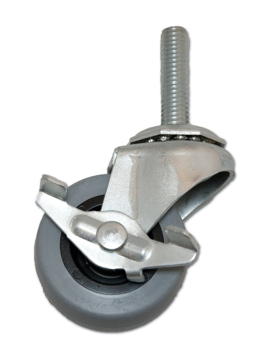"2"" Swivel TPR Caster with 3/8"" x 1-1/2"" Stem & Side Brake"