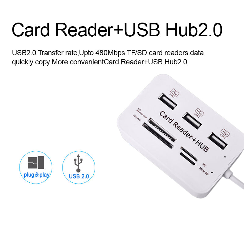 High Speed USB Hub 3 Port Combo