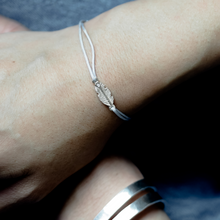 Load image into Gallery viewer, Breeze Feather Friendship Bracelet- Diamond + Recycled Silver