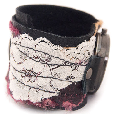 Burgundy Ballet Wide Cuff Watch